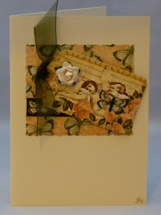 Handmade Card - Cherubs and butterflies