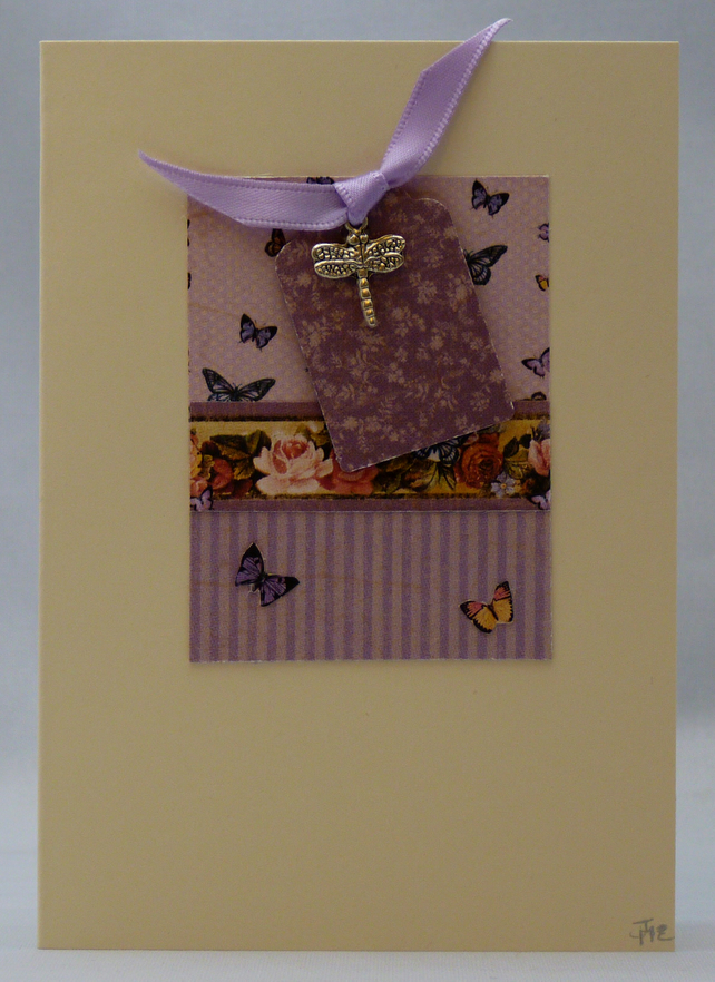 Handmade Card - Dragonfly and Butterflies