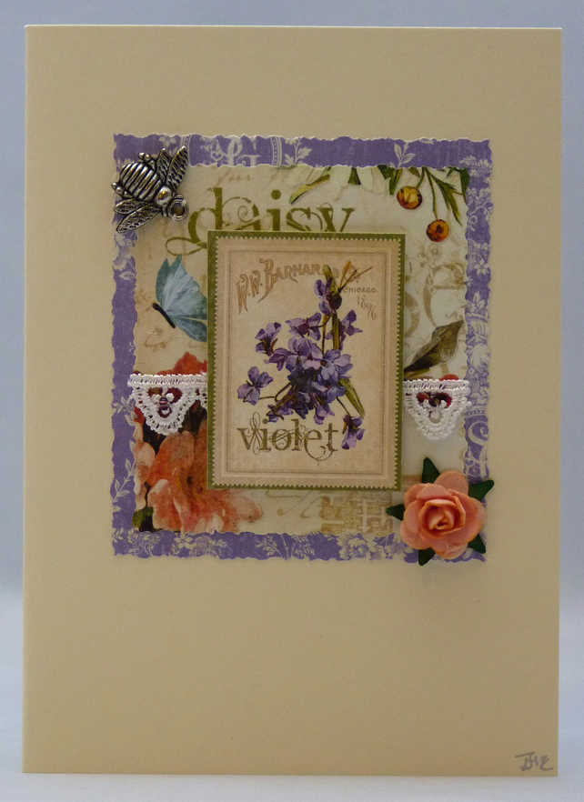Handmade Card - Roses and Bees