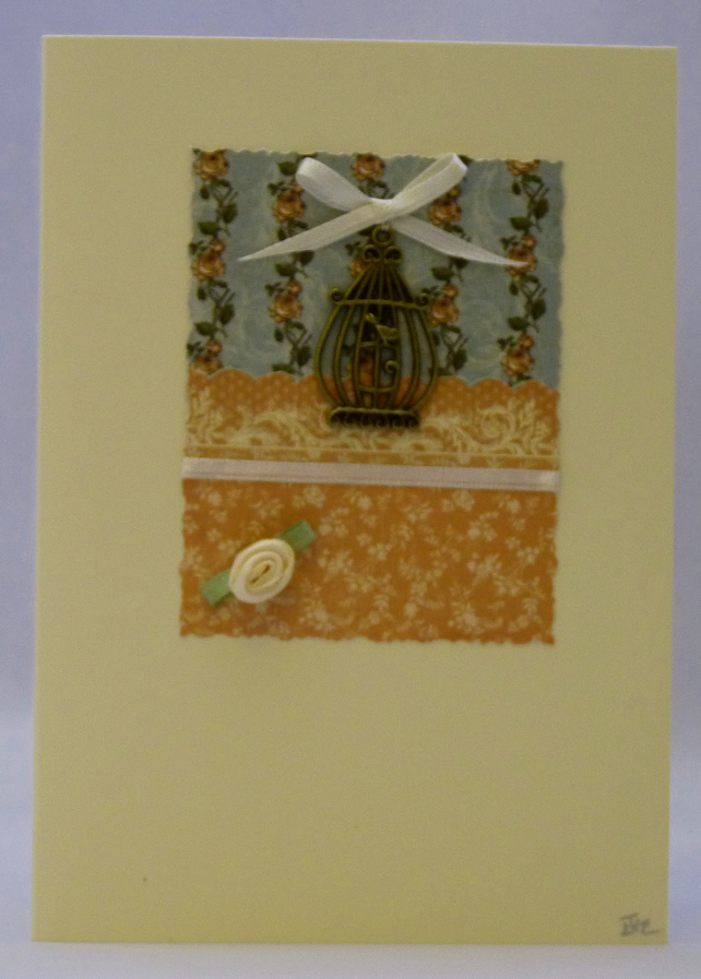 Handmade Card - Birdcage and Roses