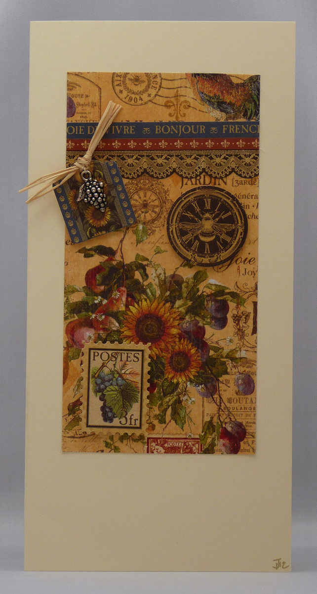 Handmade Card - Rustic Wine