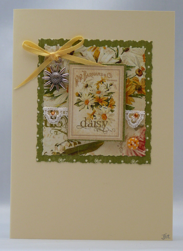 Handmade Card - Daisies and Lace