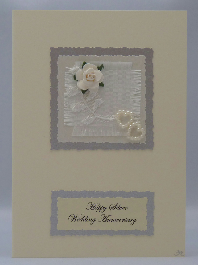 Handmade Card - Silver Wedding Anniversary