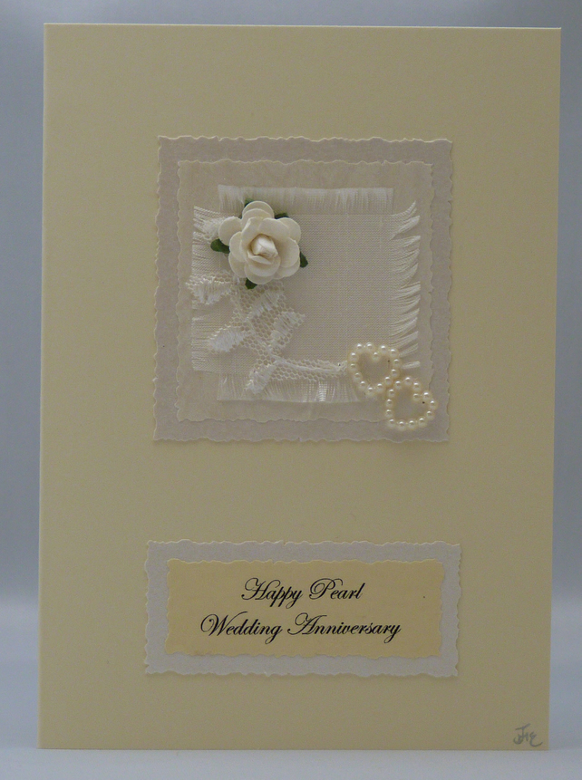 Handmade Card - Pearl Wedding Anniversary