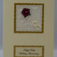 Handmade Card - Ruby Wedding Anniversary
