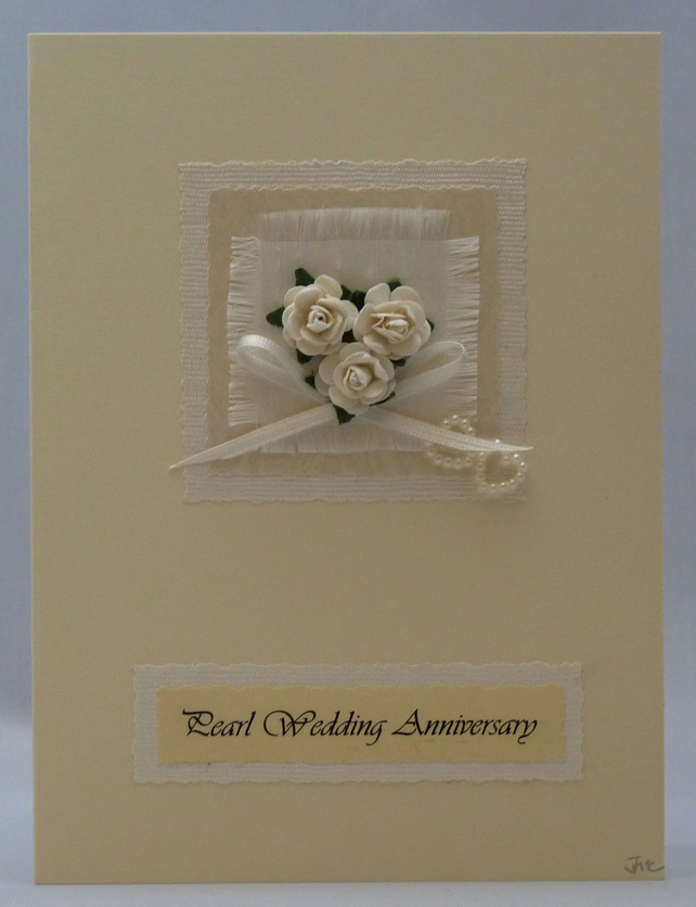 Handmade Card - Pearl Wedding Anniverysary