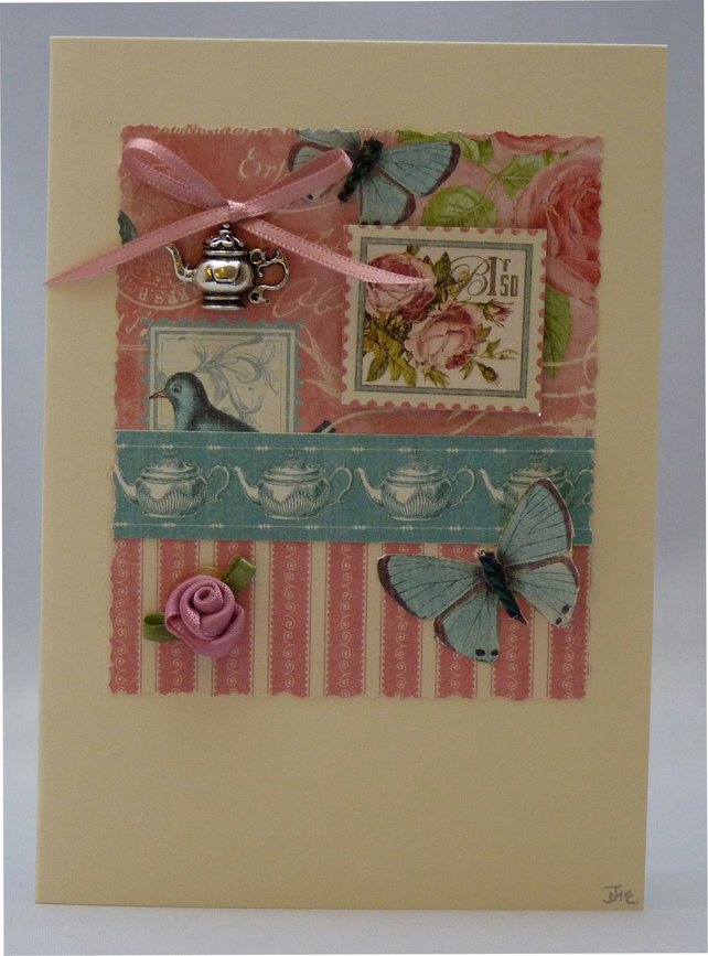 Handmade Card - Tea in the Garden