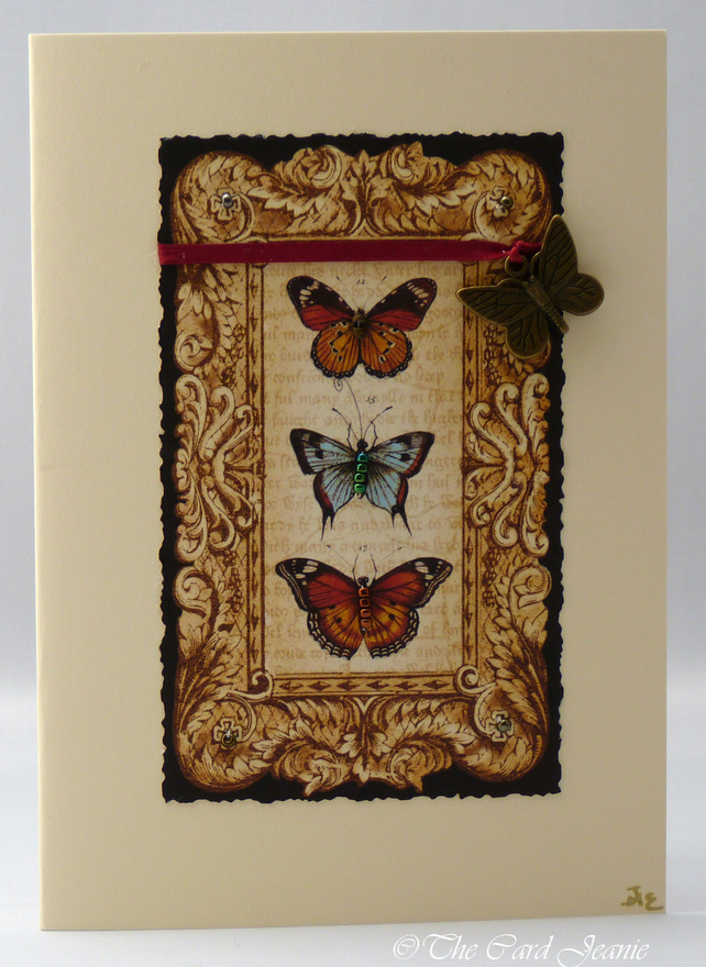 Handmade Card - Steampunk Butterflies