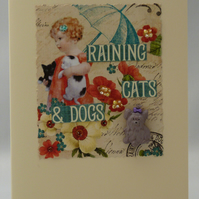 Handmade Card - Raining Cats and Dogs No. 1