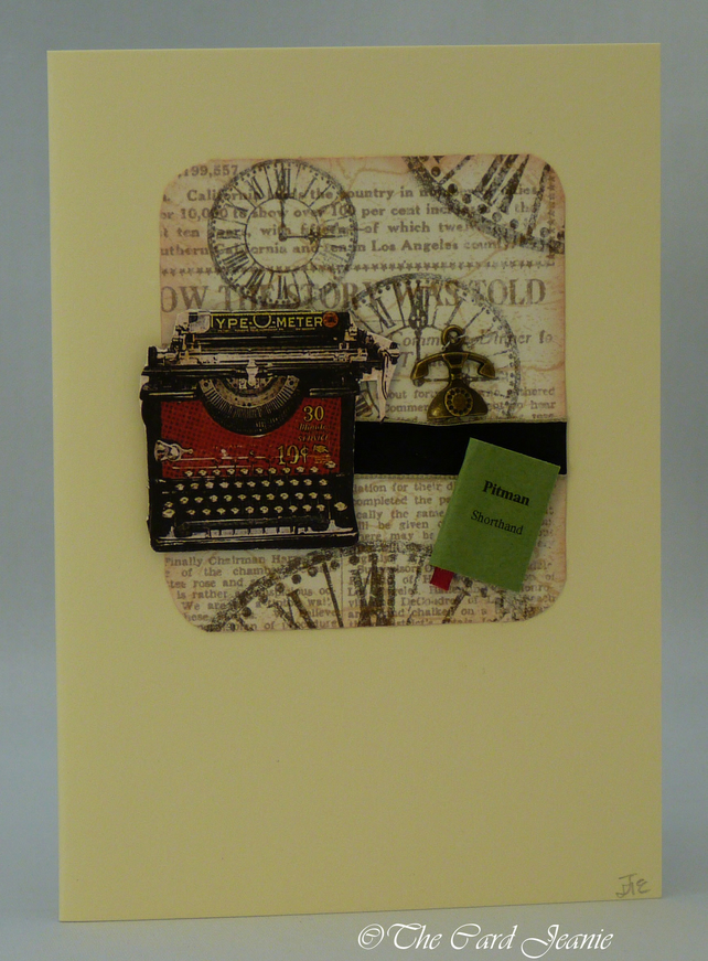 Handmade Card - Shorthand and Typing