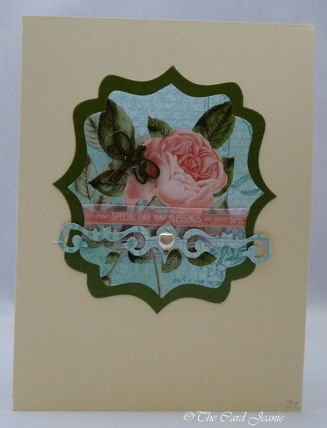 Handmade Card - Dragonfly and Roses