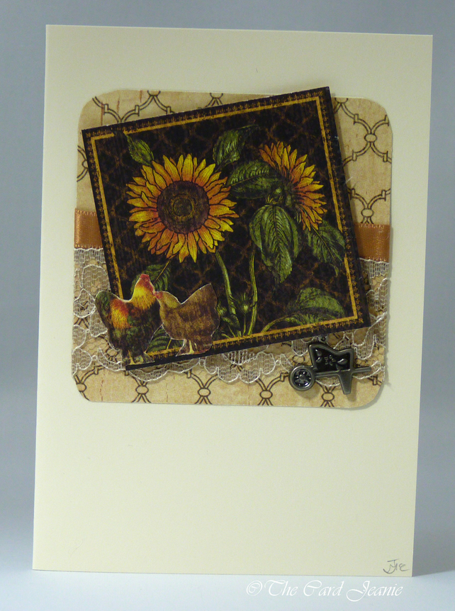 Handmade Card - Sunflowers and Chickens