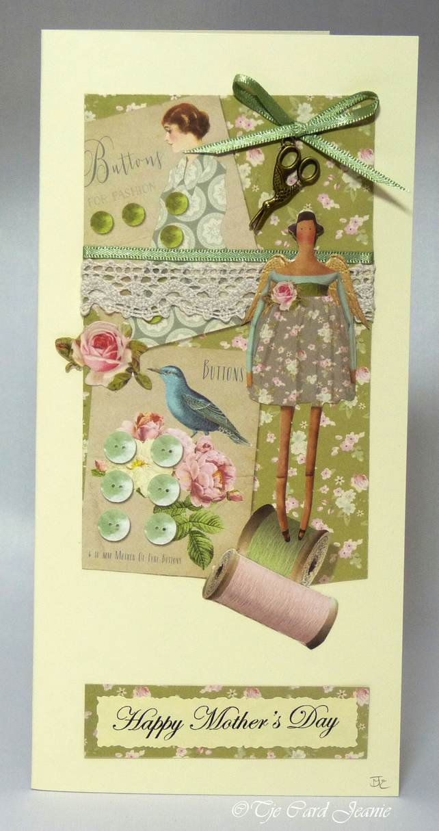 Handmade Mother's Day Card - Buttons and Bows