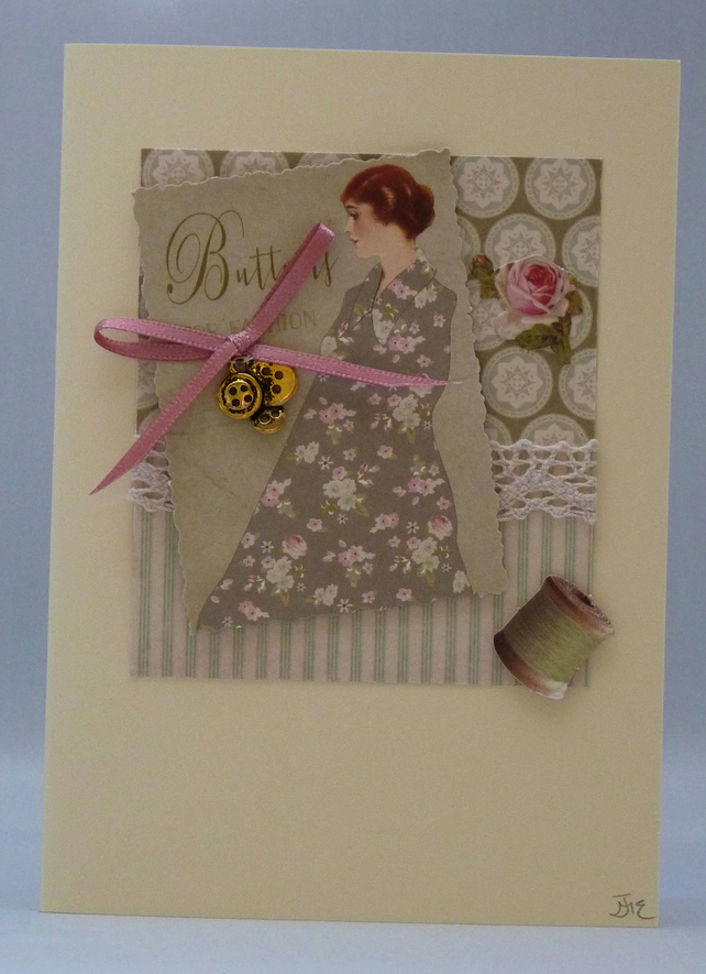 Handmade Card - Vintage Buttons