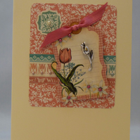 Handmade Card - Greetings with Tulips