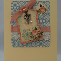 Handmade Card - Greetings with Roses