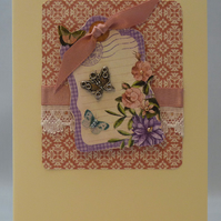 Handmade Card - Greetings with Butterflies