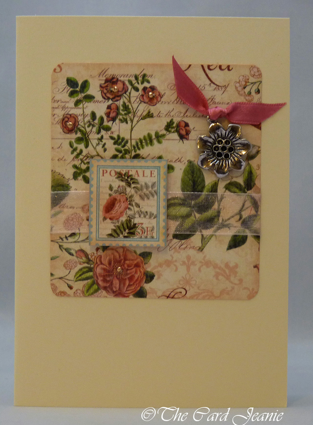 Handmade Card - Old Fashioned Roses