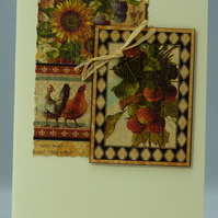 Handmade Card - Rustic Strawberries