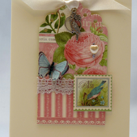 Handmade Card - Pink Rose and Butterfly
