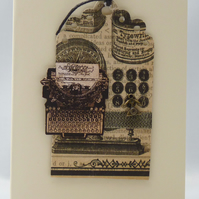 Handmade Card - Vintage Office Typist