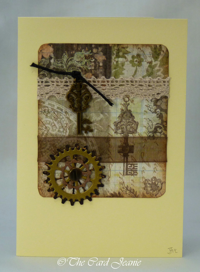 Handmade Card Steampunk Birthday No 3 Folksy