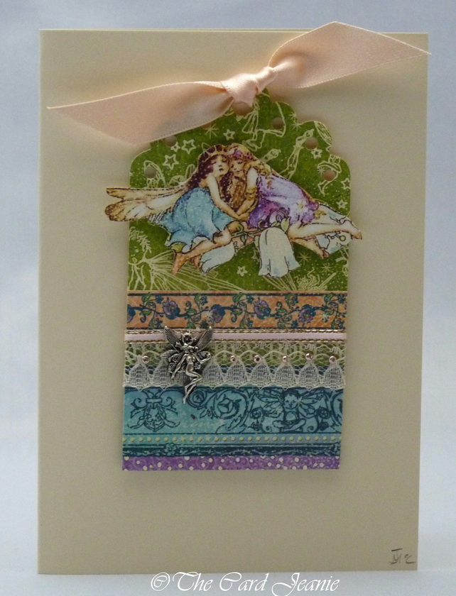 Handmade Card - Fairies in the Flower Meadow