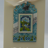 Handmade Card - Blue Flowers
