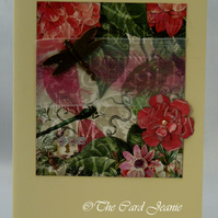 Handmade Card - Dragonfly and Roses No. 2