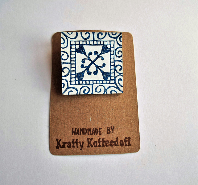 Handprinted Square Tile Design Brooch