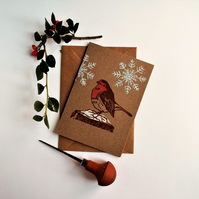Lino printed Robin Christmas card