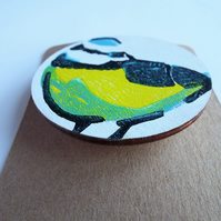 Handprinted Wooden Bluetit Brooch