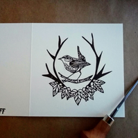 Lino Printed 'King of Birds' Wren Card
