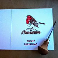 Handprinted Robin Christmas card