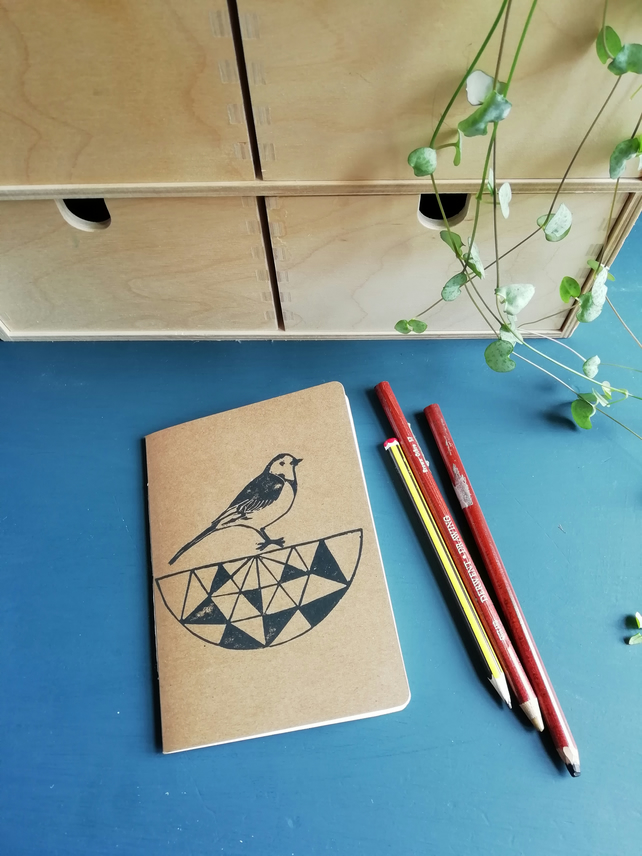 Pied Wagtail on Geometric Bird Bath Notebook
