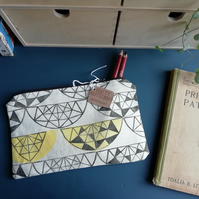 Geometric Print Handmade Pencil Case
