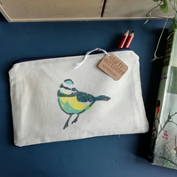 Bluetit hand printed pencil case