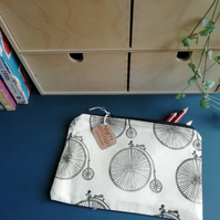 Penny Farthing Handprinted Pencil Case (Navy Back)
