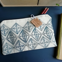 Blue Tile Pattern Printed Pencil Case