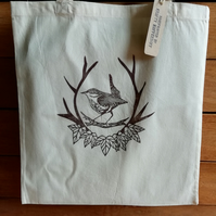 Handprinted 'King of Birds' Wren Tote Bag