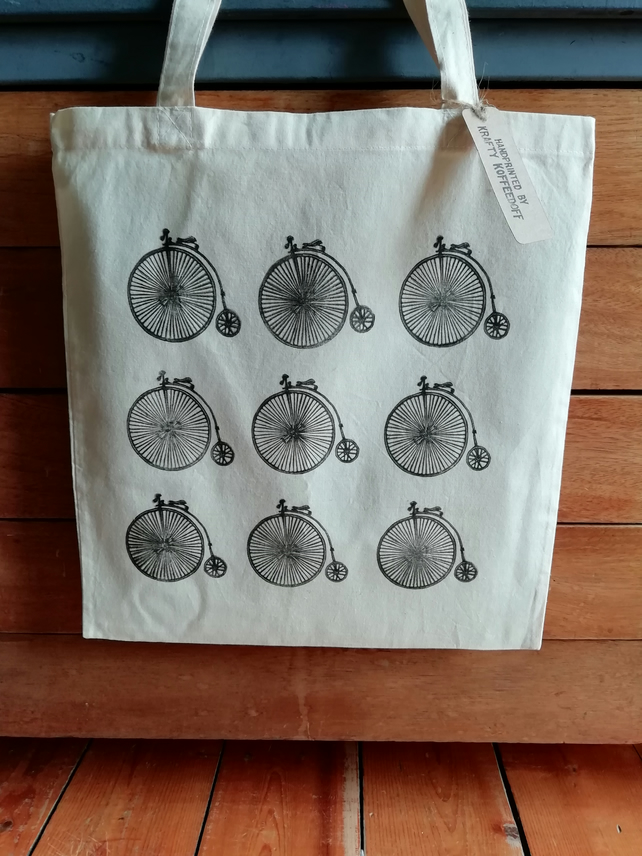 Penny Farthing Handprinted Tote Bag