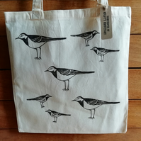 Handprinted Pied Wagtail Tote Bag