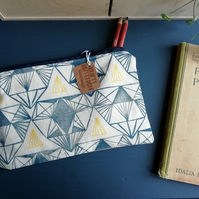 Art Deco Inspired Handprinted Pencil Case