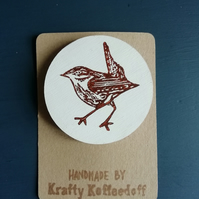 Handprinted Wooden Wren Brooch