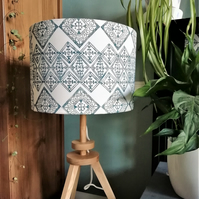 Blue Tile Pattern Hand Printed 30cm Drum Lampshade