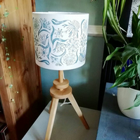 Hand Printed Cornflower Blue Printed Lampshade