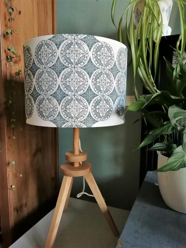 30 cm Blue Patterned Hand Printed Drum Lampshade
