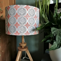 30 cm Orange and Grey Patterned Drum Lampshade