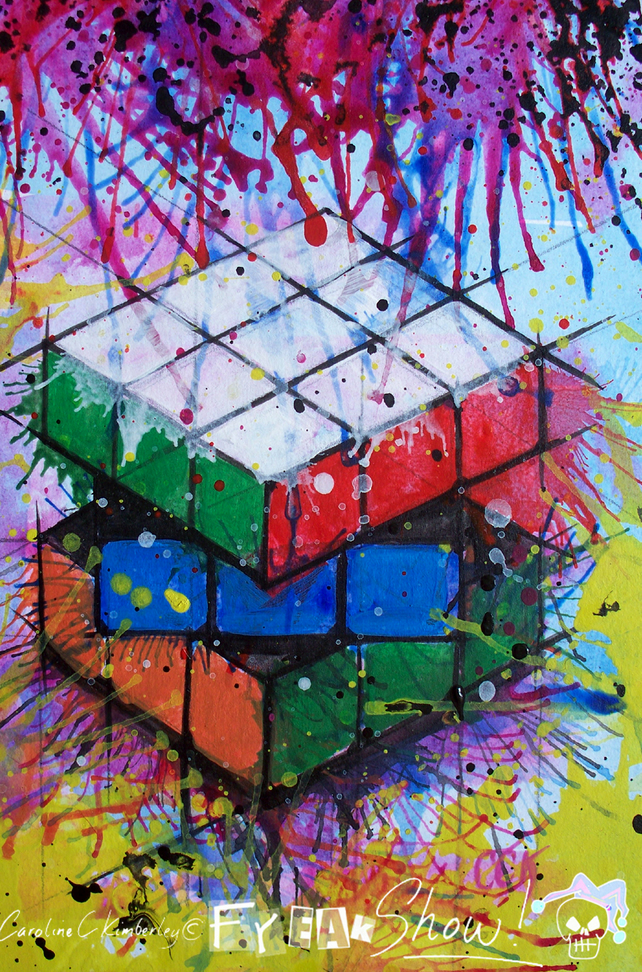 Small Acrylic Rubik's Cube inspired painting drawing