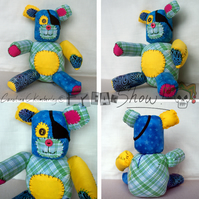 Yellow and Blue, Raggy patch, Raggy Bear, handmade and original.